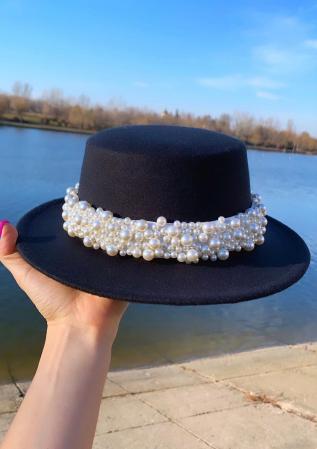 Canotiera Neagra Handmade cu bentita detasabila cu perle Luxury0