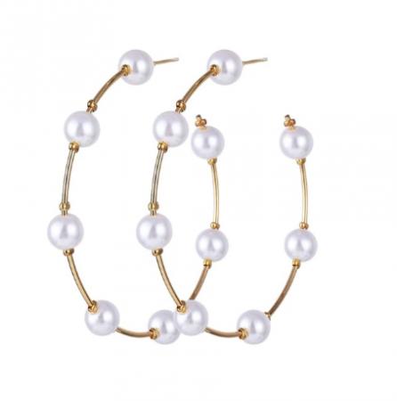 Cercei rotunzi cu perle - diametru 5 cm0