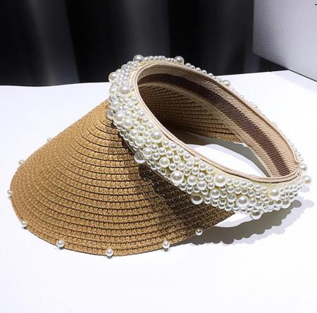 Cozoroc din rafie Bej cu perle pentru adulti sau copii5