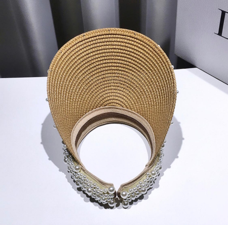 Cozoroc din rafie Bej cu perle pentru adulti sau copii6