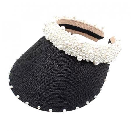 Cozoroc din rafie Negru cu perle pentru adulti sau copii2