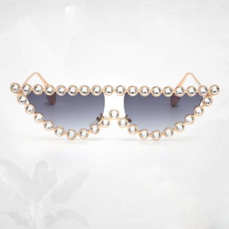 Ochelari de Soare Gri cu Cristale4