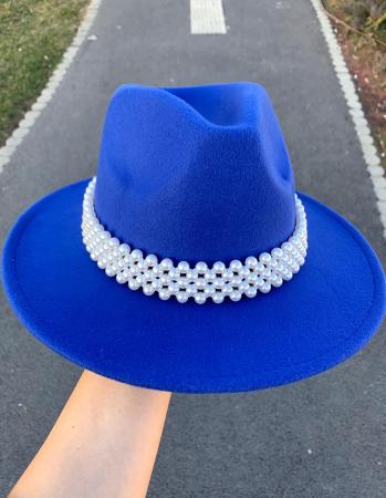 Palarie Albastra Handmade cu bentita detasabila cu perle0