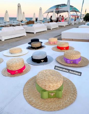 Palarie de Soare Handmade din paie cu bentita detasabila si accesoriu la alegere10