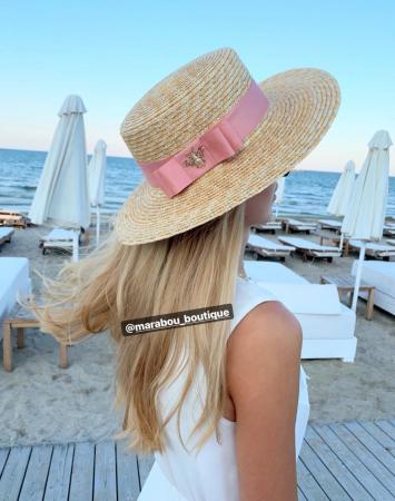 Palarie de Soare Handmade din paie cu funda si albina3