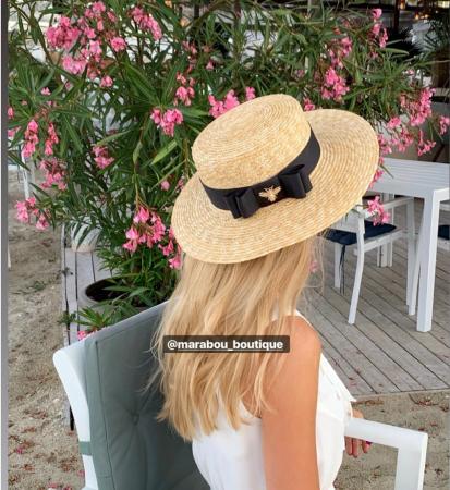 Palarie de Soare Handmade din paie cu funda si albina2