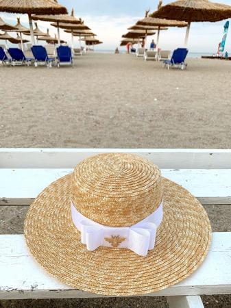 Palarie de Soare Handmade din paie cu funda si albina22
