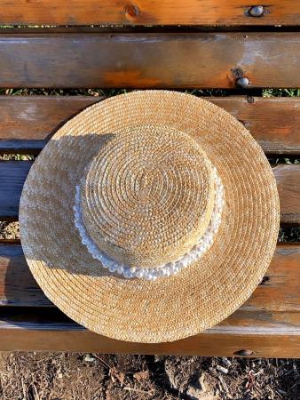 Palarie de Soare Handmade din paie cu bentita detasabila cu Perle Luxury1
