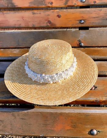 Palarie de Soare Handmade din paie cu bentita detasabila cu Perle Luxury0