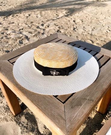 Palarie de Soare Handmade din paie in 2 culoricu funda neagra0