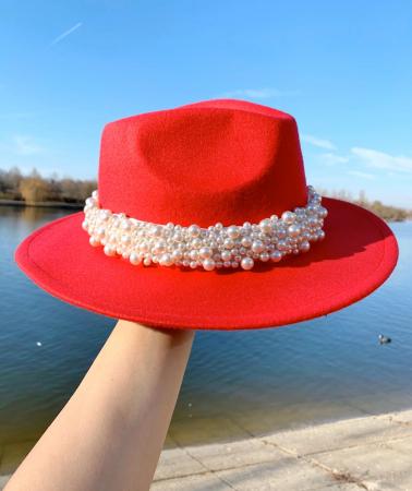 Palarie Rosie Handmade  cu perle Luxury5