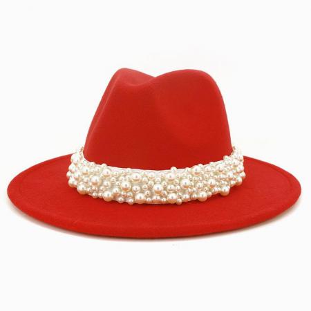 Palarie Rosie Handmade  cu perle Luxury1