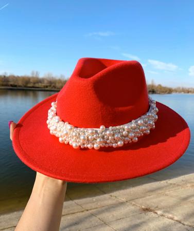 Palarie Rosie Handmade  cu perle Luxury9