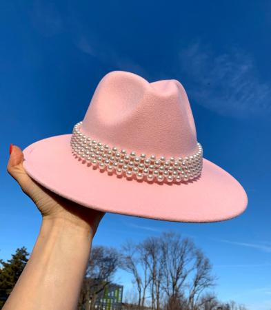 Palarie Roz Handmade cu perle0