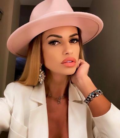 Palarie Roz Handmade cu bentita detasabila cu perle Luxury13