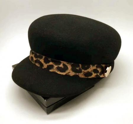 Sapca Neagra eleganta din lana cu Bentita Leopard Print6