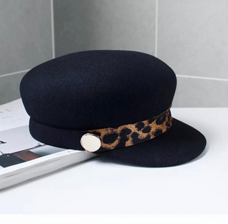 Sapca Neagra eleganta din lana cu Bentita Leopard Print11