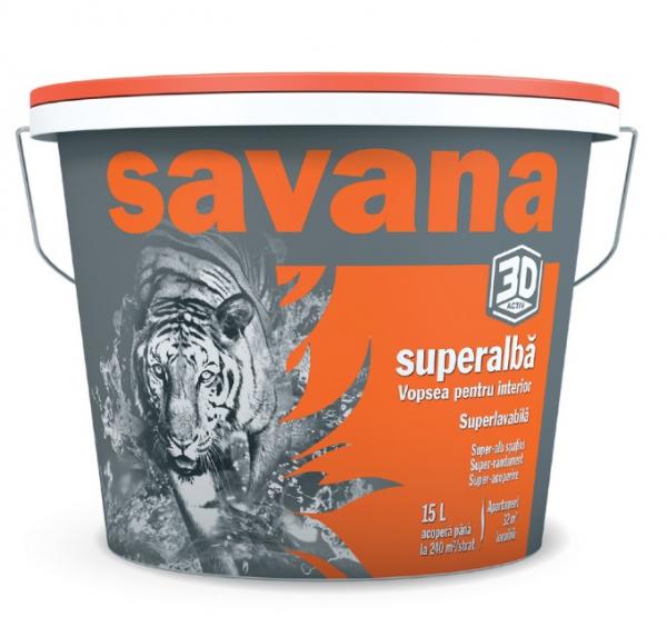 Vopsea Savana superlavabila, pentru interior, superalba 3D Activ 15L 0