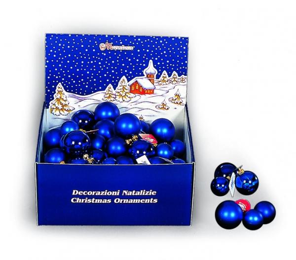 Set de 3 globuri 50/60/70 mm albastre cu finisaj lucios metalizat sau satinat 0