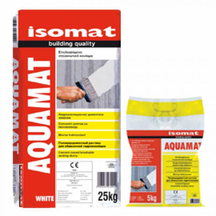 Mortar hidroizolant aplicabil cu bidineaua Aquamat, Isomat, 25 kg, alb 0