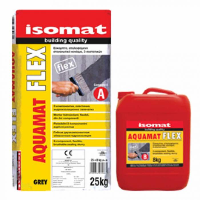 Mortar hidroizolant flexibil bicomponent Aquamat Flex, Isomat, gri, 33 kg 0