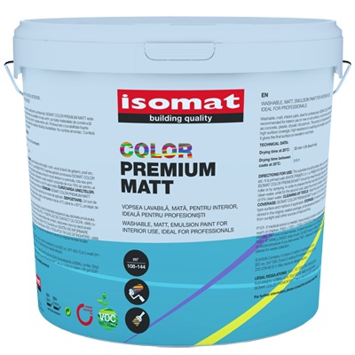 Vopsea acrilica pentru interior, Isomat color premium matt, 15L, Alb 0