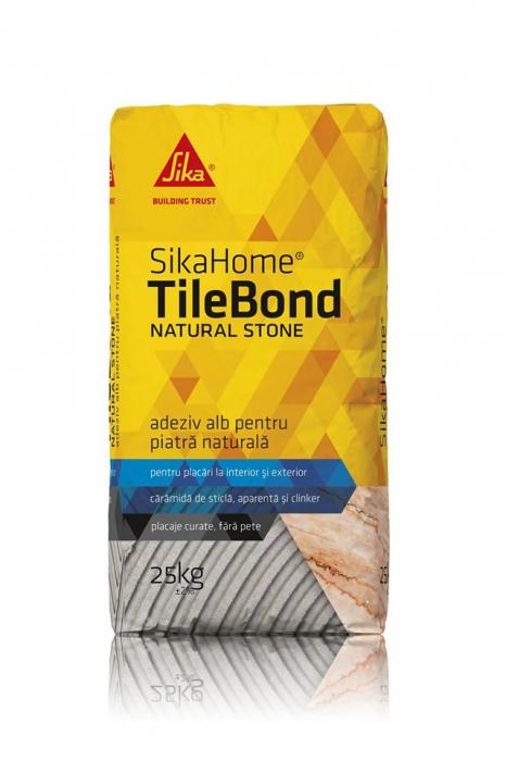 Adeziv alb pentru piatră naturală SikaHome TileBond Natural Stone, 25kg 0