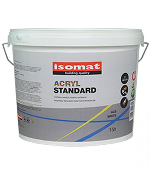 Vopsea lavabila pentru exterior, ISOMAT ACRYL STANDARD, alb, 15L 0