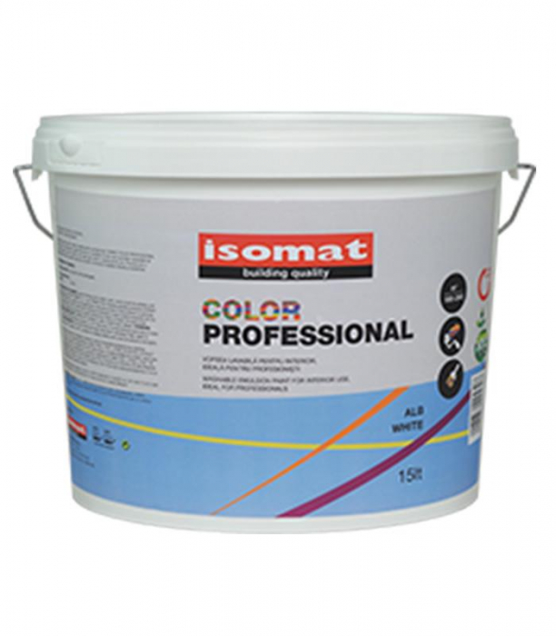 Vopsea lavabila pentru interior Isomat color Professional, 15L, Alb 0