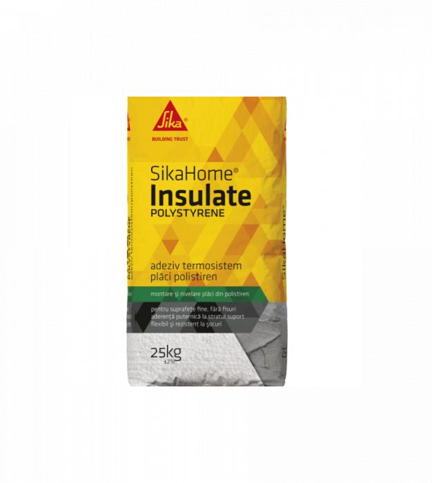 Adeziv pentru lipire polistiren Sikahome Insulate, interior-exterior, Sika, 25 kg, alb 0