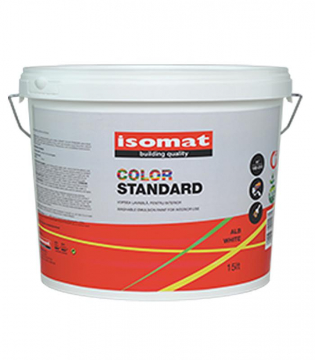 Vopsea lavabila pentru interior Isomat Color Standard, 9L, Alb 0