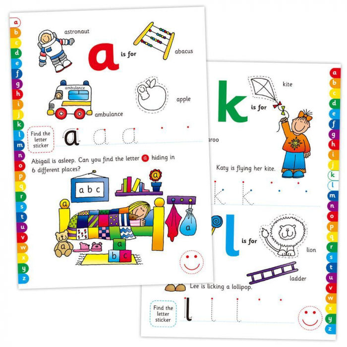Carte cu activitati si abtibilduri - Alfabet 1