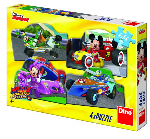 Puzzle 4 in 1 - Mickey Mouse si Minnie la cursa (54 piese) 0