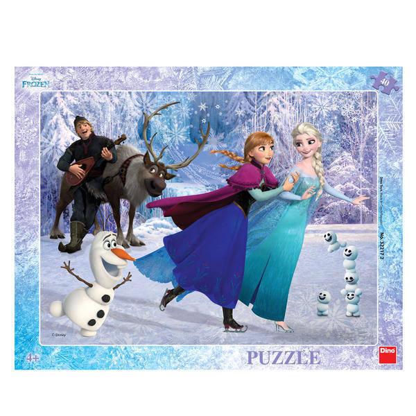 Puzzle cu rama - Anna si Elsa la patinoar (40 piese) 0
