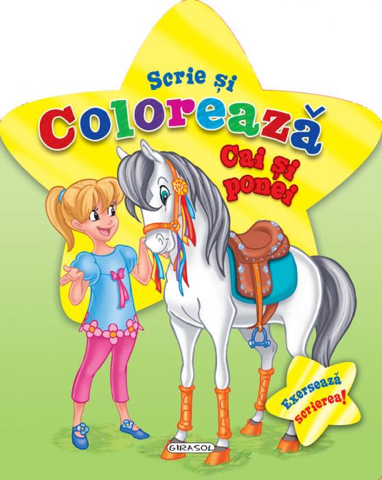 Scrie si coloreaza cai si ponei (verde) 0