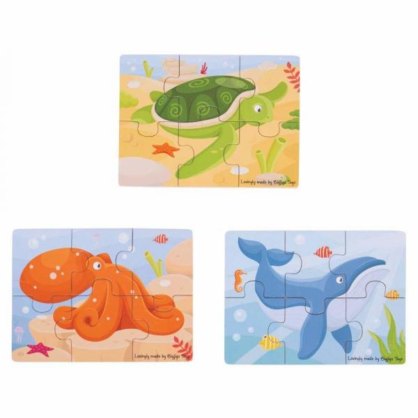 Set 3 puzzle din lemn - Lumea acvatica 0