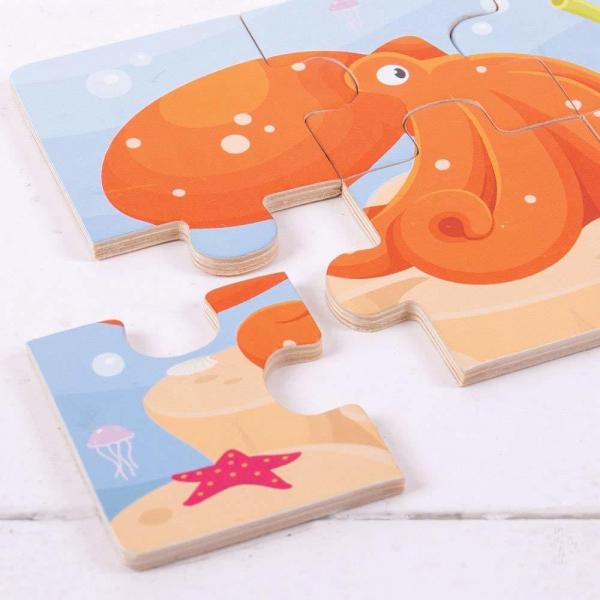 Set 3 puzzle din lemn - Lumea acvatica 2