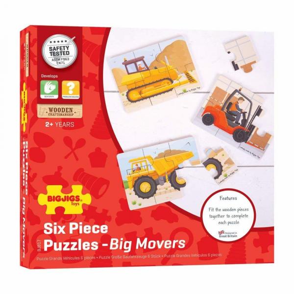 Set 3 puzzle din lemn - Vehicule pentru constructii 0