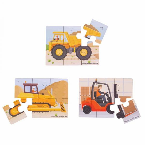 Set 3 puzzle din lemn - Vehicule pentru constructii 3