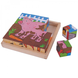 Puzzle cubic - Animalute de la ferma1