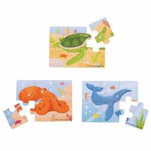 Set 3 puzzle din lemn - Lumea acvatica1