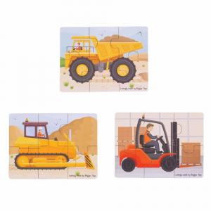 Set 3 puzzle din lemn - Vehicule pentru constructii2