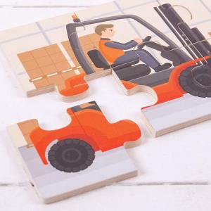 Set 3 puzzle din lemn - Vehicule pentru constructii1