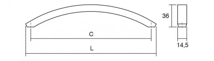 Maner pentru mobila Arch, finisaj nichel periat, L:338.5 mm [1]