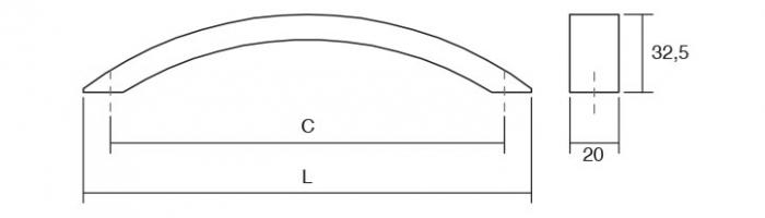 Maner pentru mobila Arko, finisaj otel inoxidabil, L:218 mm [2]