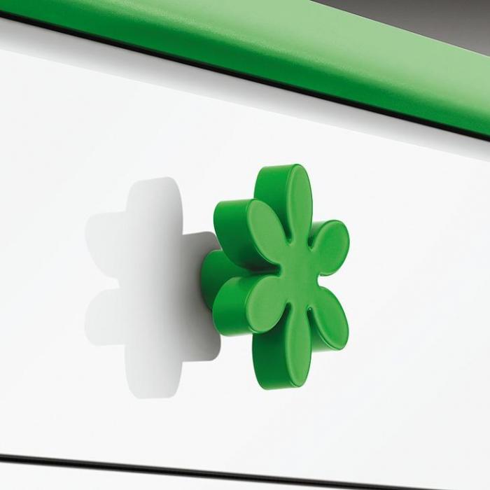 Buton floare verde pentru mobilier copii 2