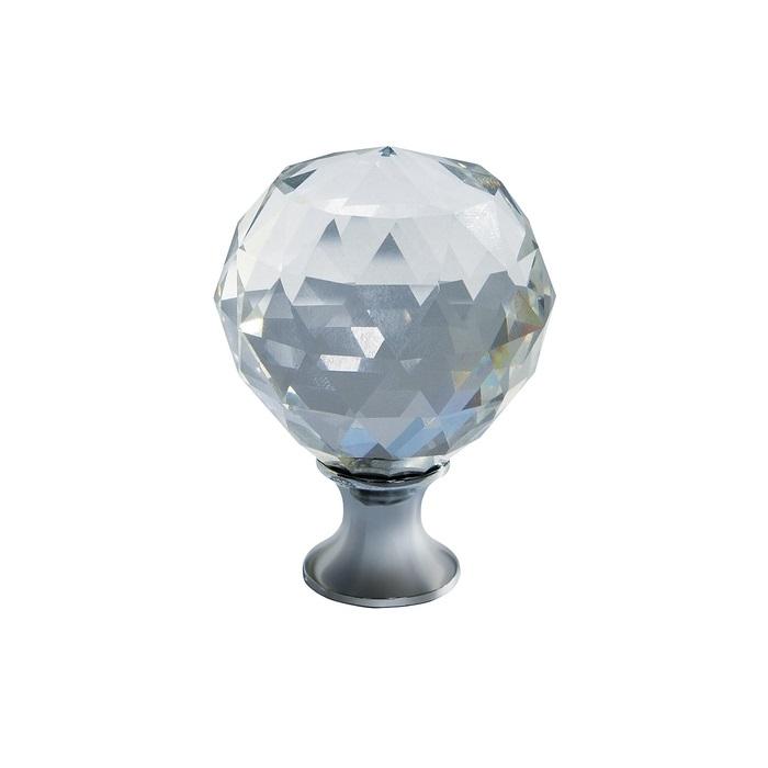 Buton modern pentru mobilier CRPA, crom lucios + cristal transparent D: 20 mm 0