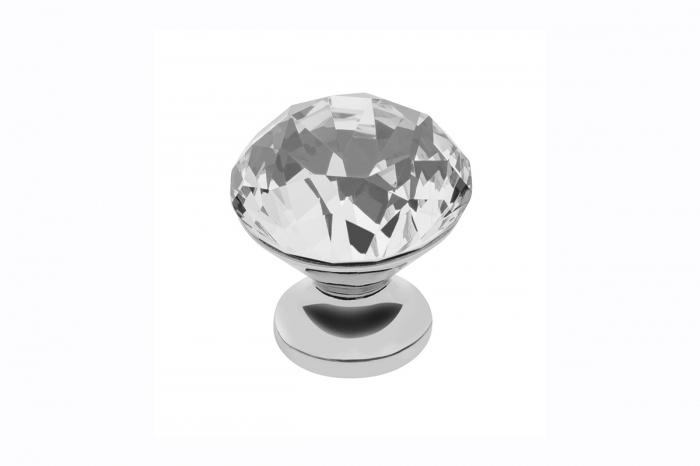 Buton modern pentru mobilier CRPB, crom lucios + cristal transparent D: 20 mm [0]