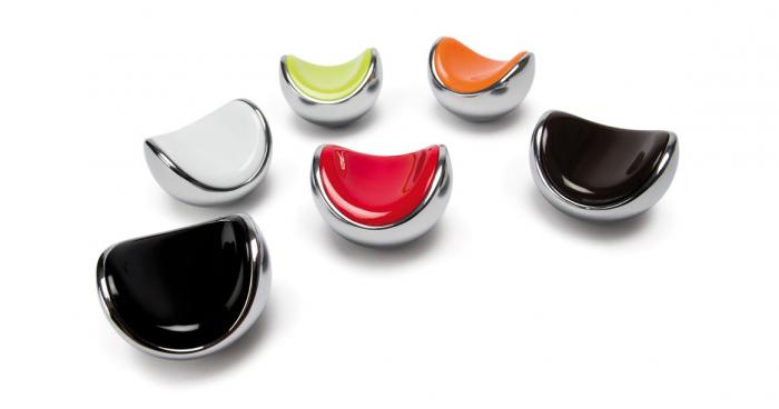 Buton pentru mobila Fruit, finisaj crom lucios/negru [1]
