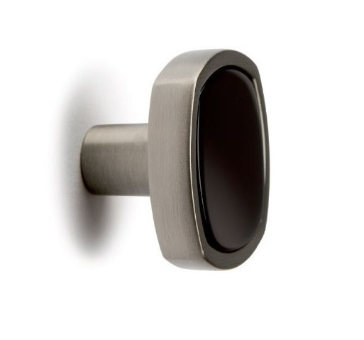 Buton pentru mobila Quattro, finisaj negru/nichel periat, L:28 mm [0]